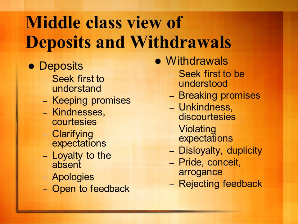 Middle class view of Deposits and Withdrawals