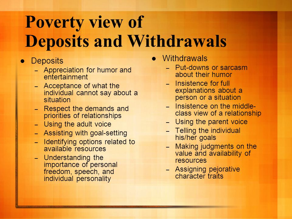 Poverty view of Deposits and Withdrawals