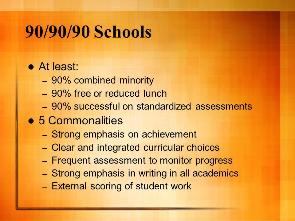 90/90/90 Schools At least: 5 Commonalities 90% combined minority