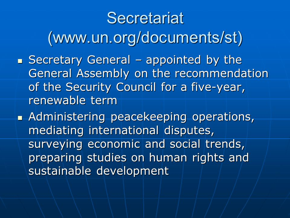 Secretariat (www.un.org/documents/st)