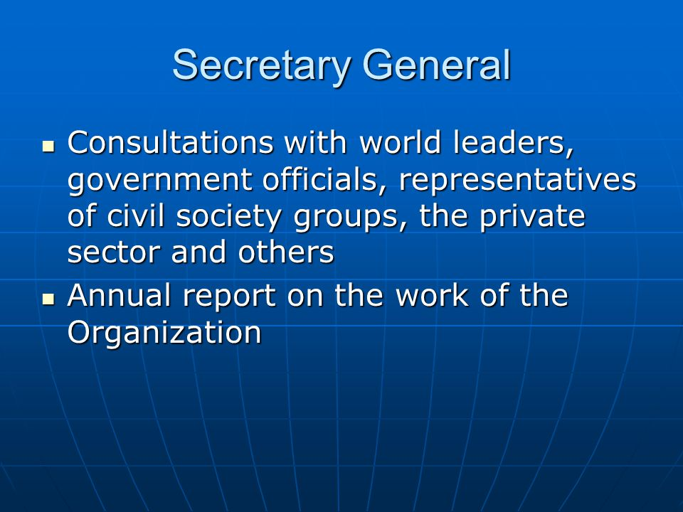 Secretary General Consultations with world leaders, government officials, representatives of civil society groups, the private sector and others.