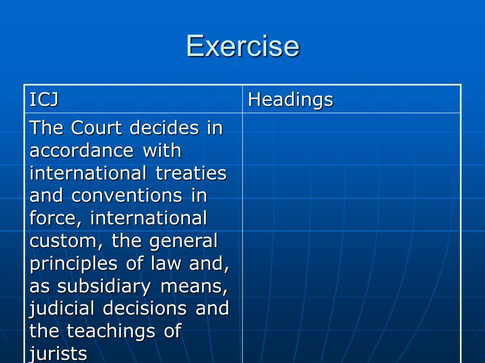 Exercise ICJ. Headings.