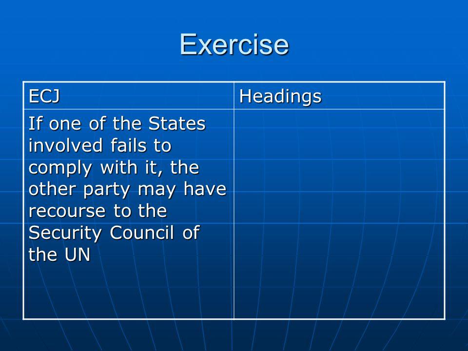 Exercise ECJ. Headings.
