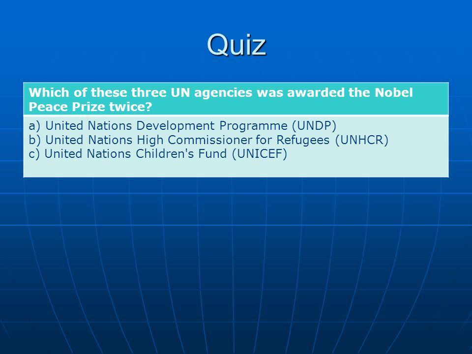 Quiz Which of these three UN agencies was awarded the Nobel Peace Prize twice