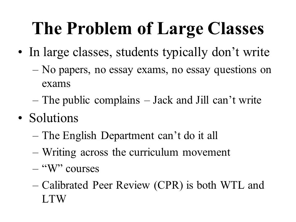The Problem of Large Classes