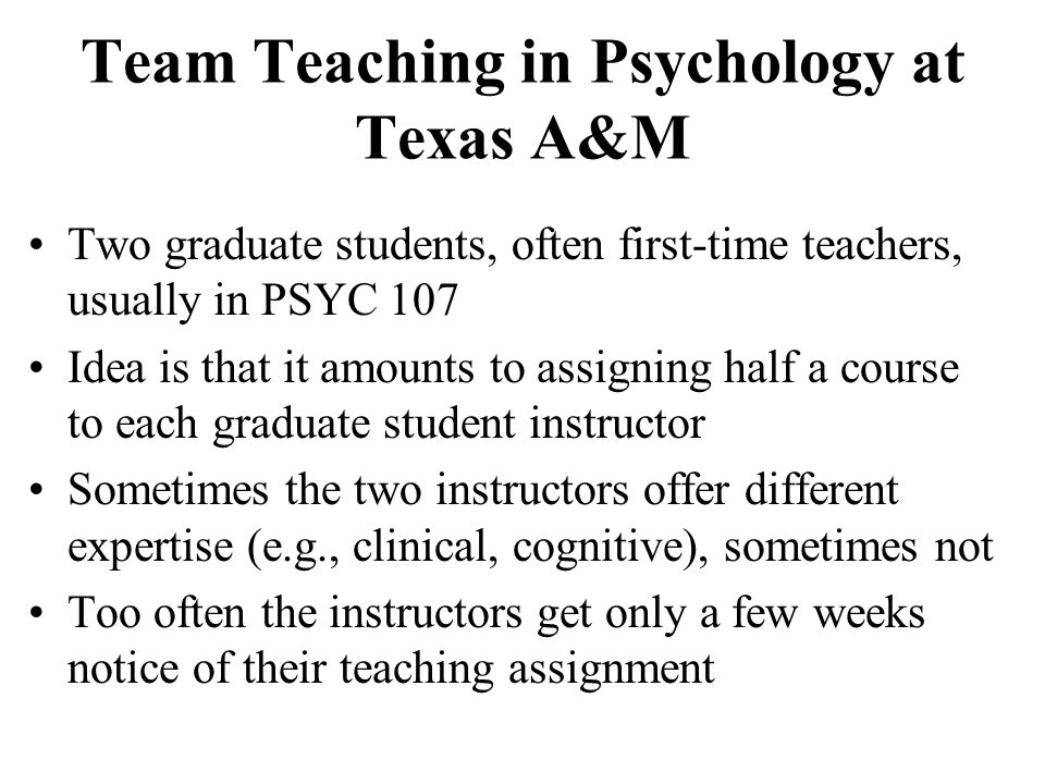 Team Teaching in Psychology at Texas A&M