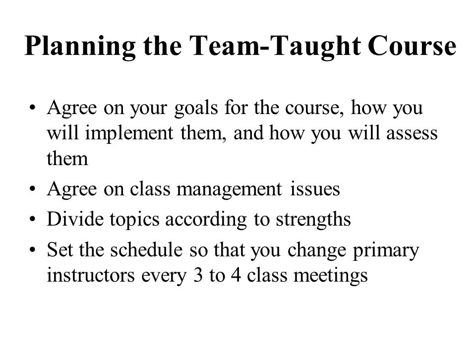 Planning the Team-Taught Course