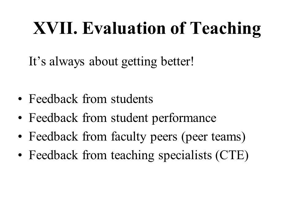 XVII. Evaluation of Teaching