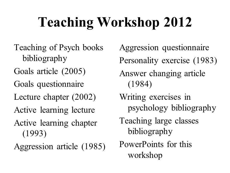Teaching Workshop 2012