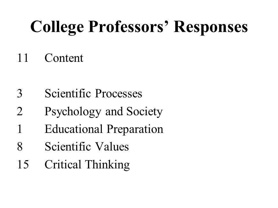 College Professors' Responses