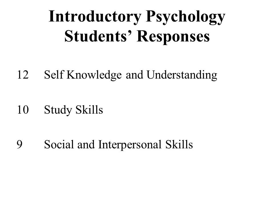 Introductory Psychology Students' Responses