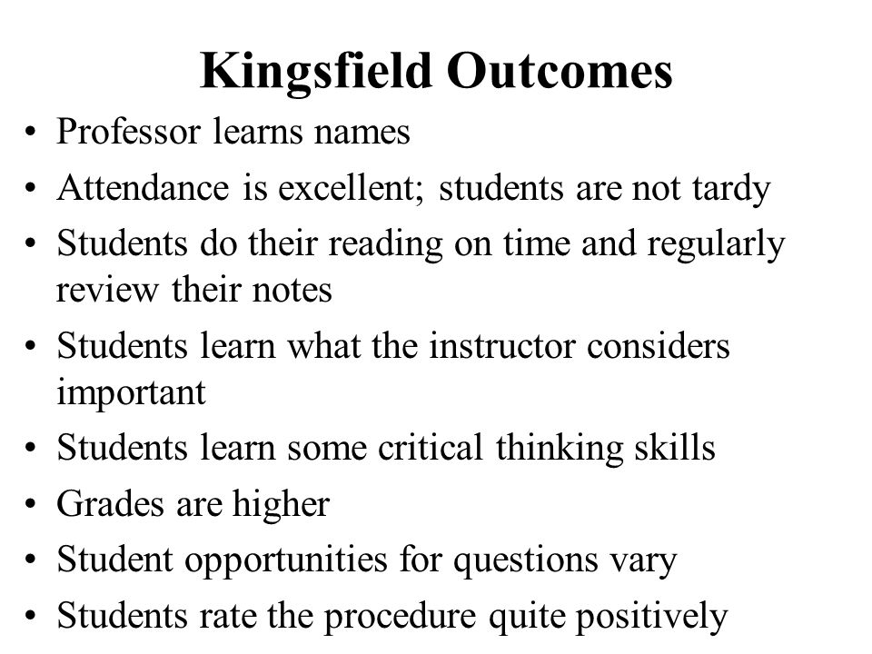 Kingsfield Outcomes Professor learns names