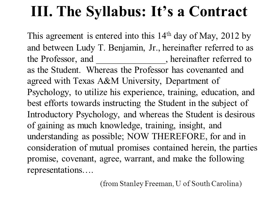 III. The Syllabus: It's a Contract