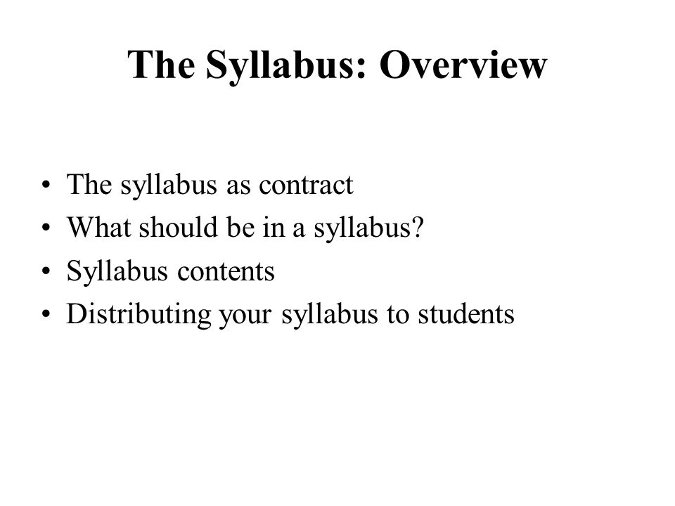 The Syllabus: Overview