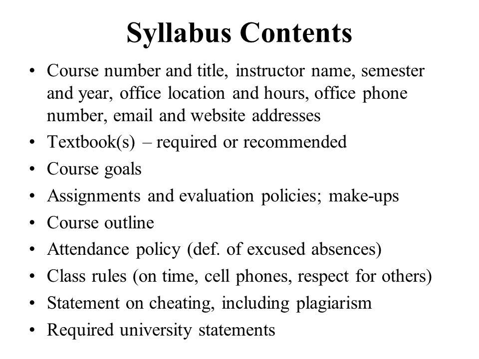 Syllabus Contents