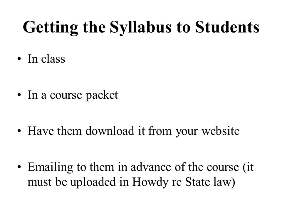 Getting the Syllabus to Students