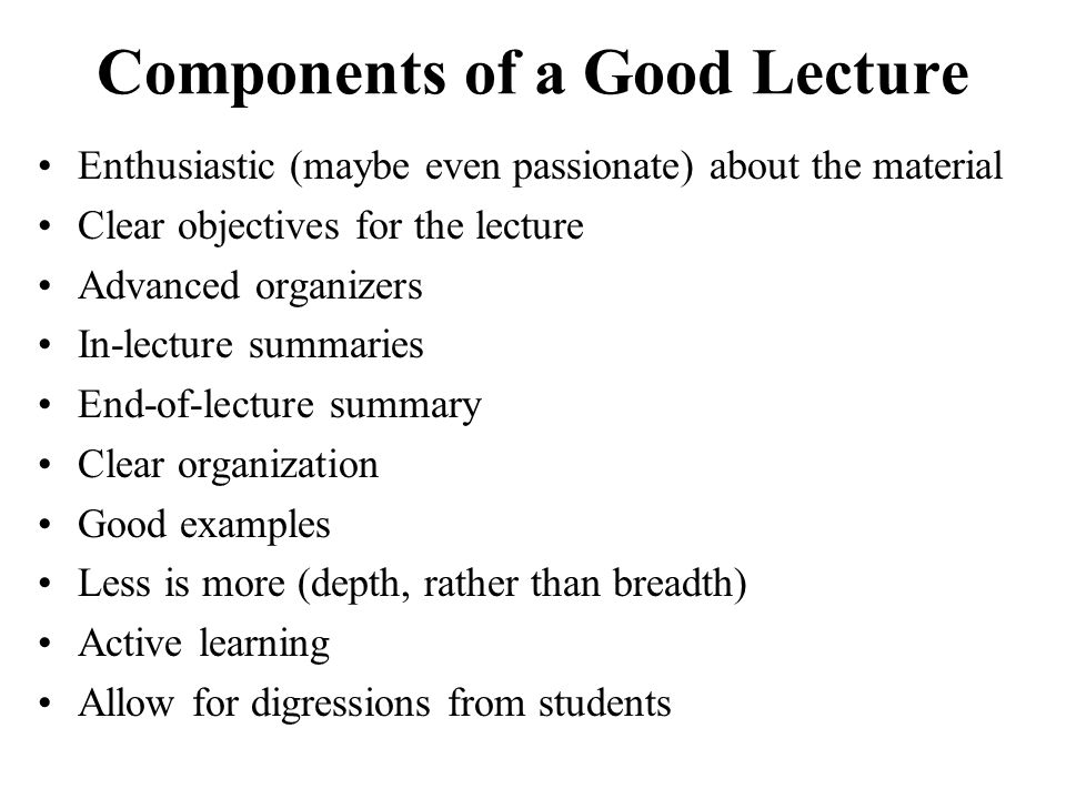 Components of a Good Lecture