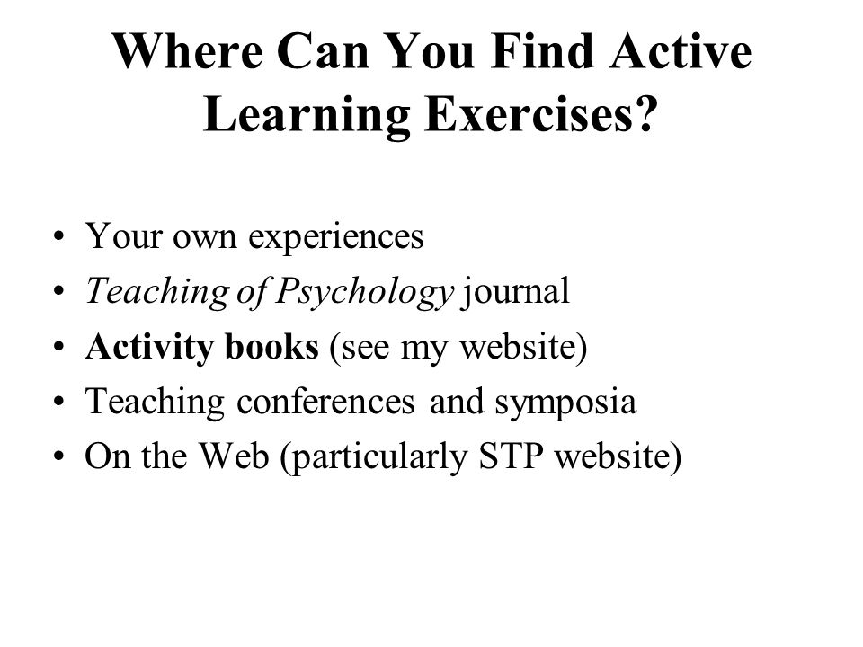 Where Can You Find Active Learning Exercises