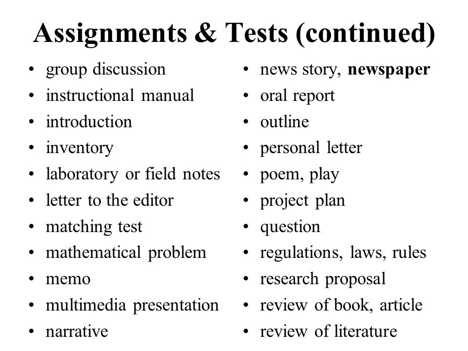 Assignments & Tests (continued)