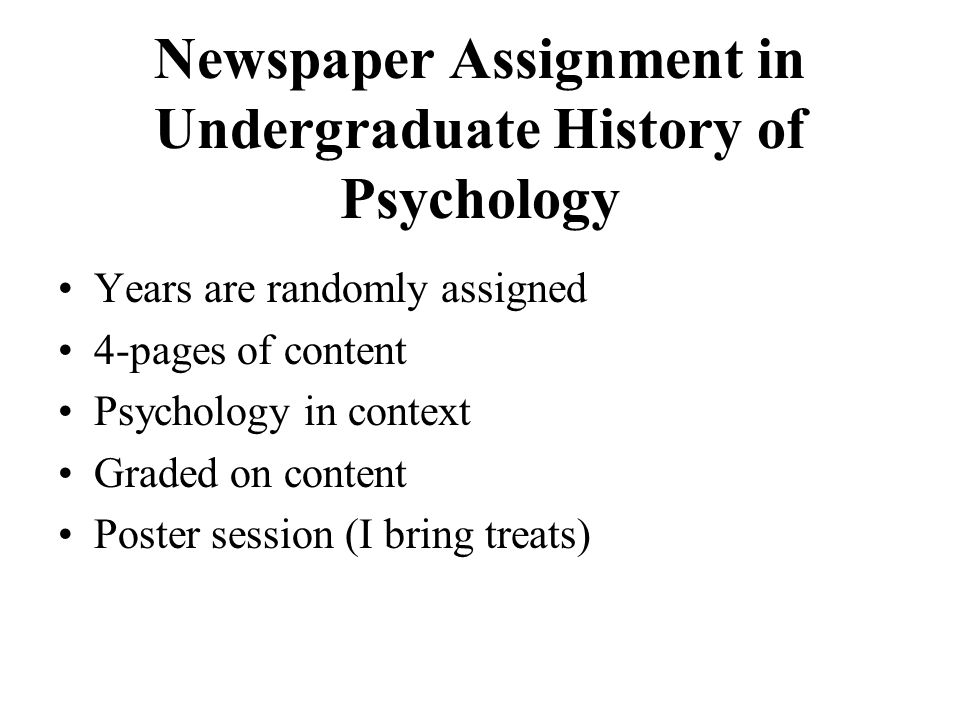 Newspaper Assignment in Undergraduate History of Psychology