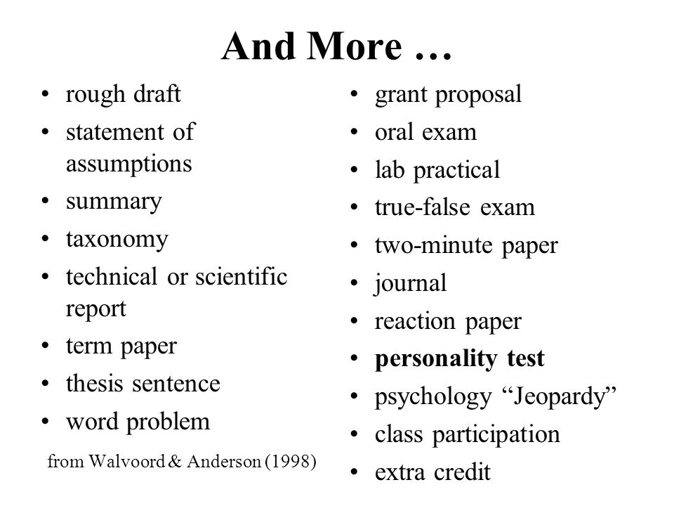 And More … rough draft statement of assumptions summary taxonomy