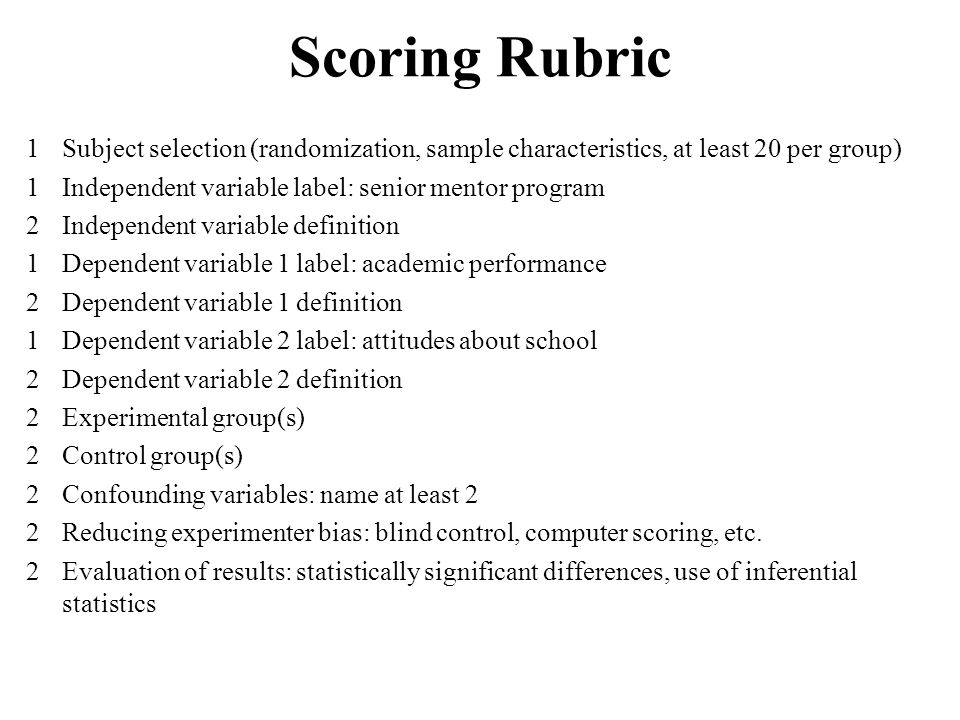 Scoring Rubric 1 Subject selection (randomization, sample characteristics, at least 20 per group)