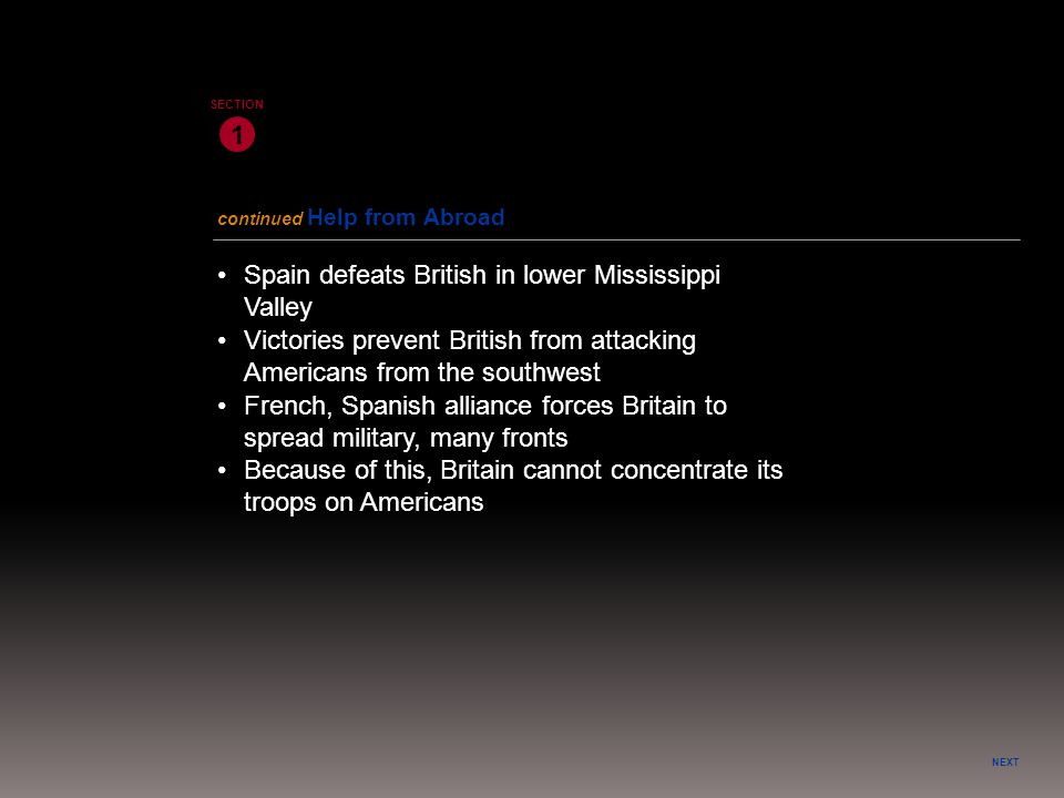 • Spain defeats British in lower Mississippi Valley