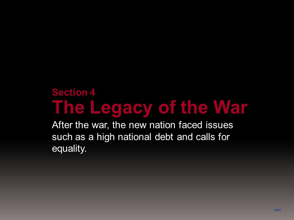 The Legacy of the War Section 4