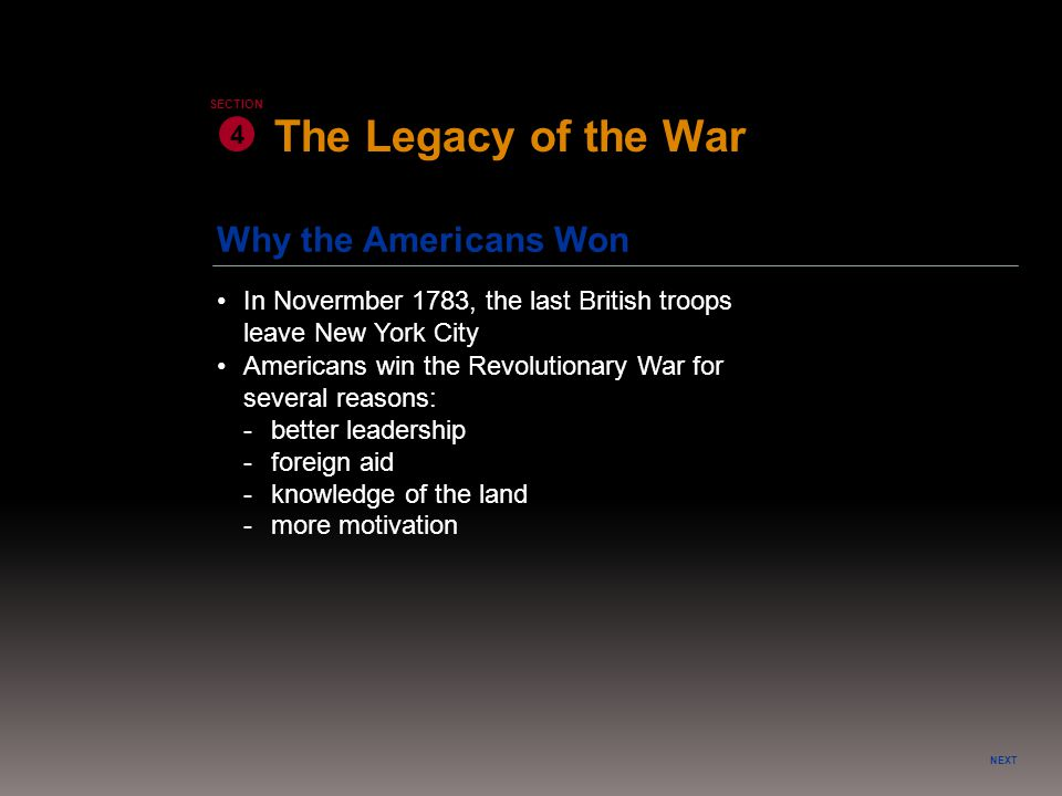 The Legacy of the War Why the Americans Won 4