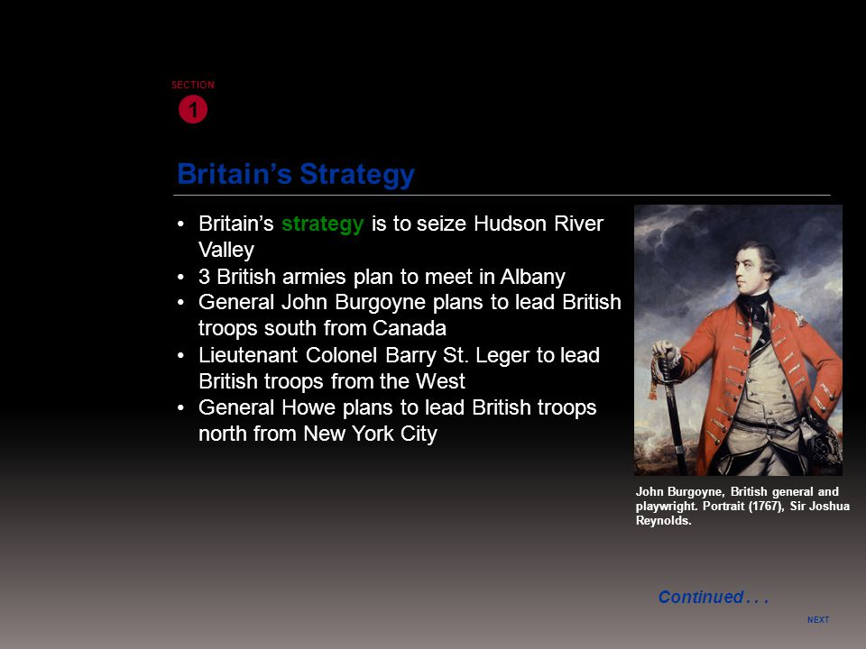 1 SECTION. Britain's Strategy. • Britain's strategy is to seize Hudson River Valley. • 3 British armies plan to meet in Albany.
