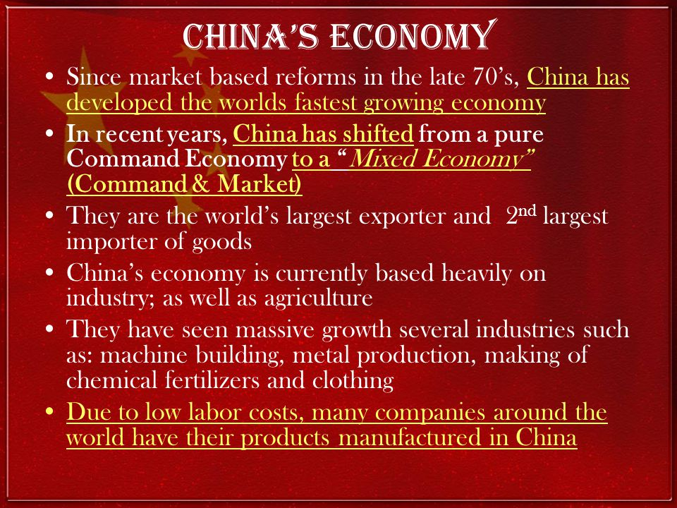 China's Economy Since market based reforms in the late 70's, China has developed the worlds fastest growing economy.