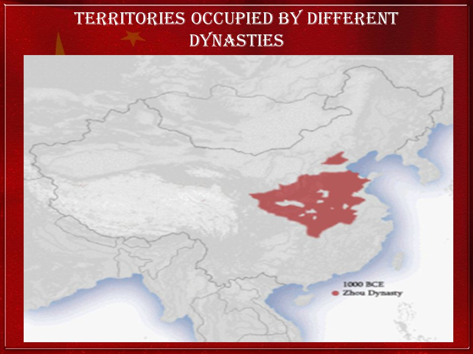 Territories occupied by different dynasties