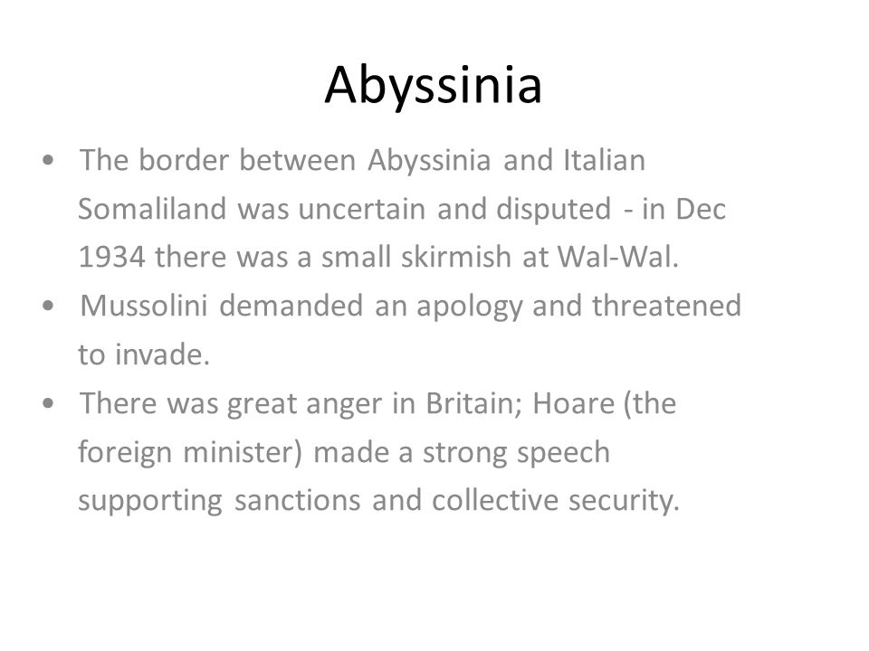 Abyssinia • The border between Abyssinia and Italian