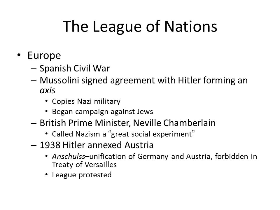 The League of Nations Europe Spanish Civil War