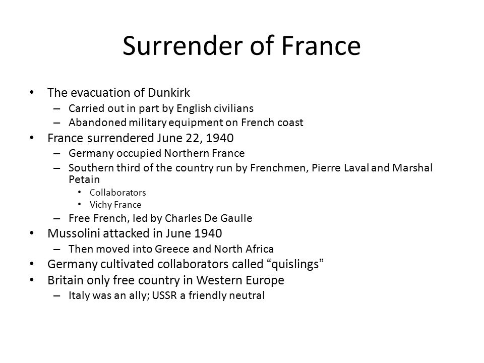 Surrender of France The evacuation of Dunkirk