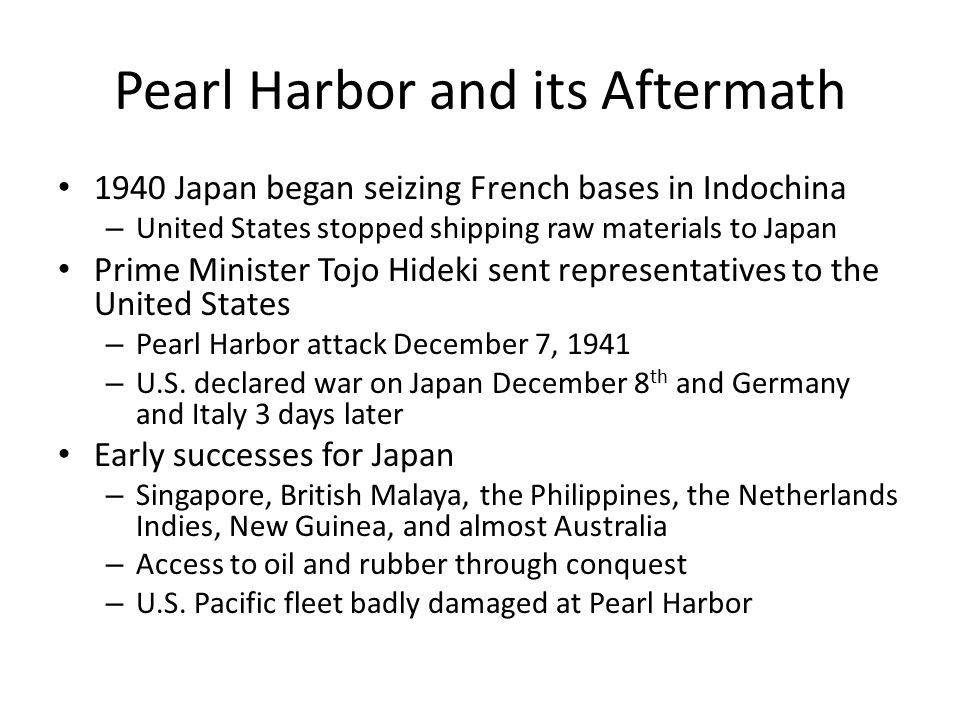 Pearl Harbor and its Aftermath