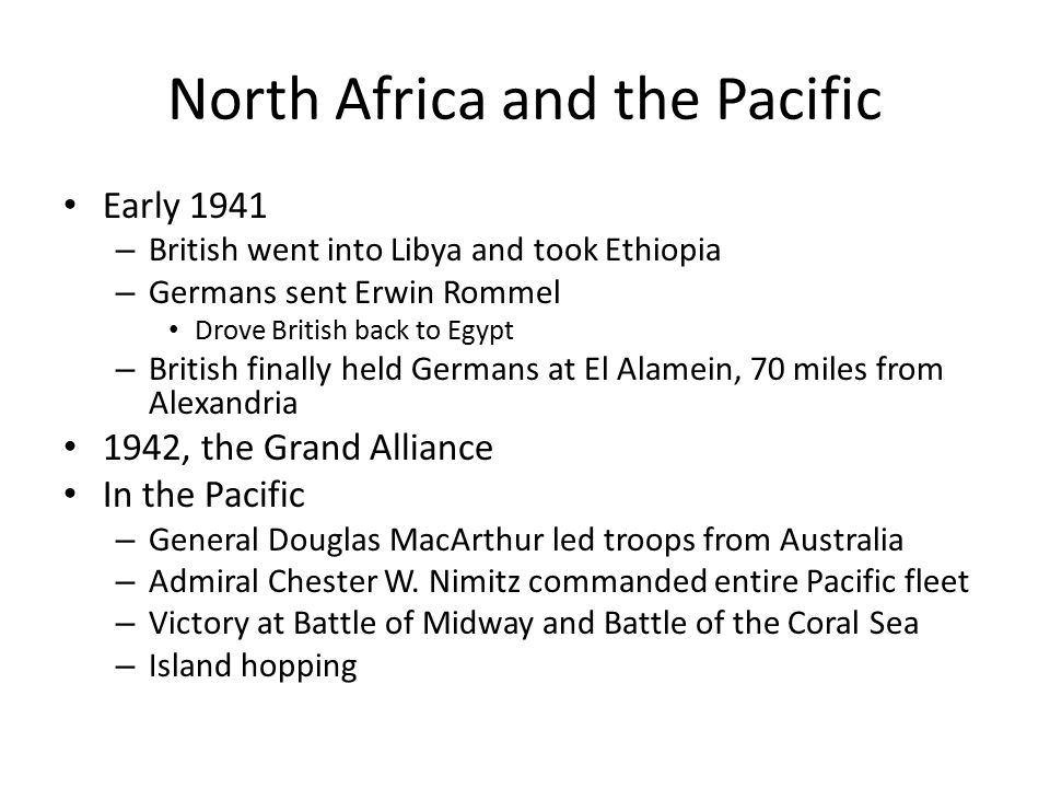 North Africa and the Pacific