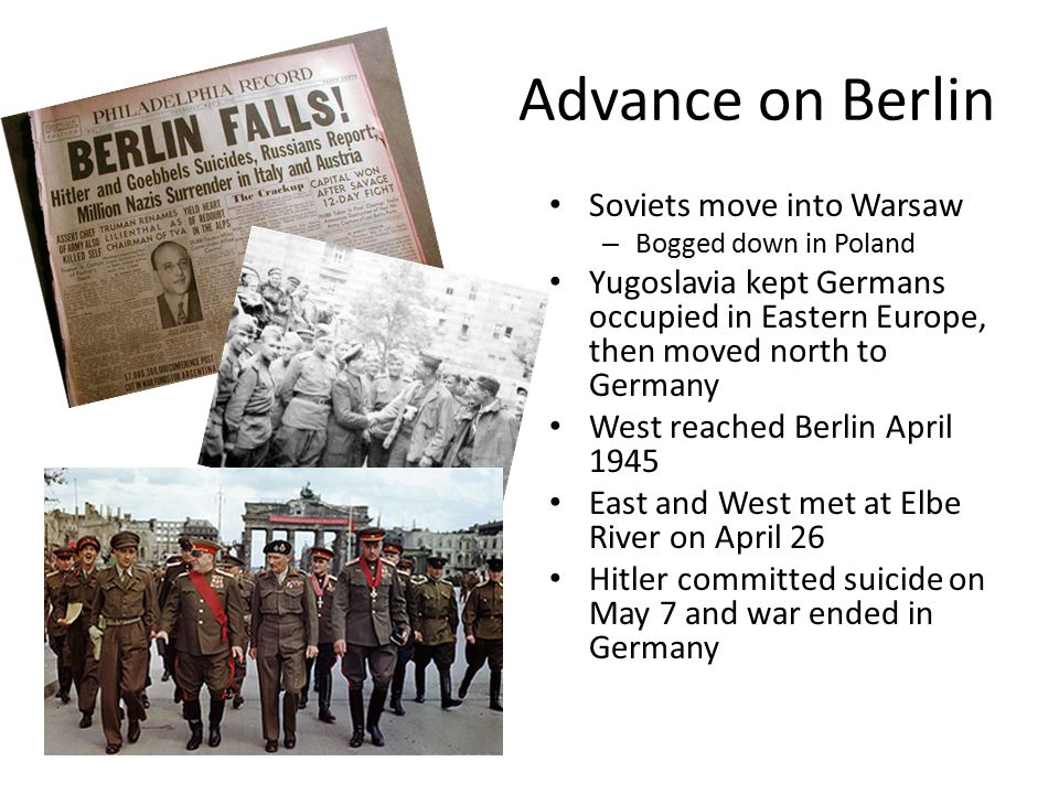 Advance on Berlin Soviets move into Warsaw