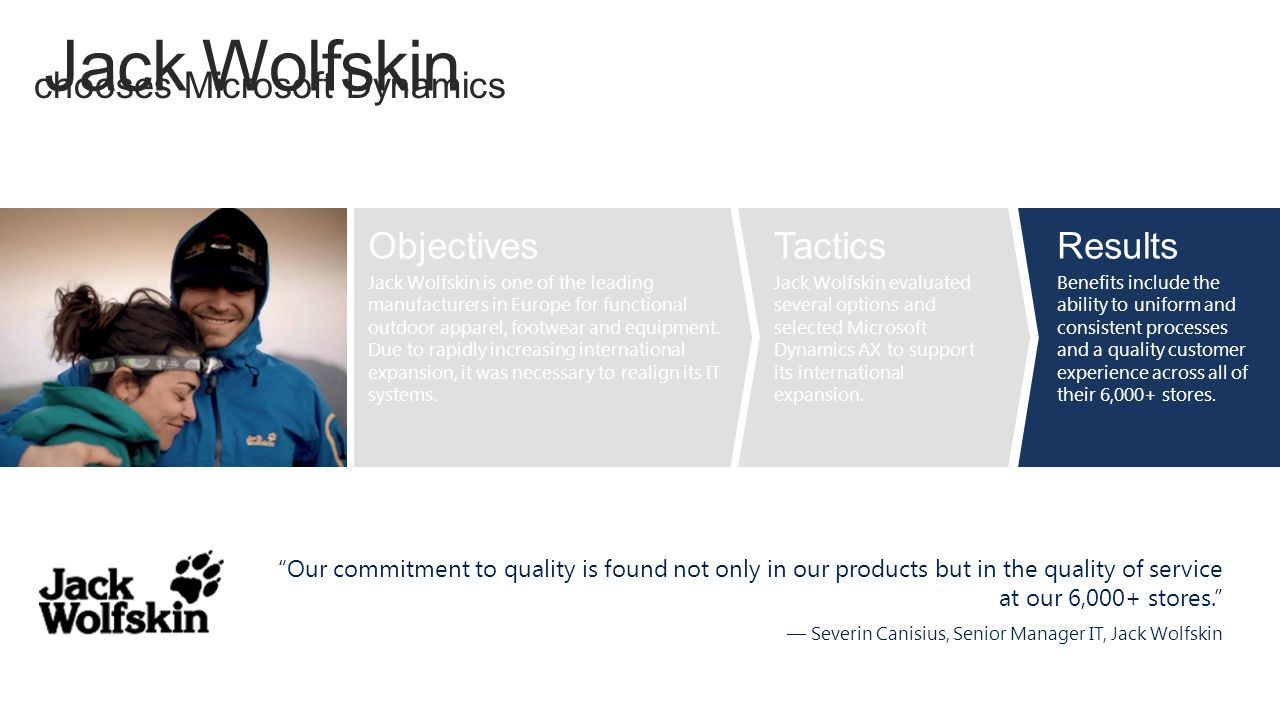 Jack Wolfskin chooses Microsoft Dynamics Objectives Tactics Results