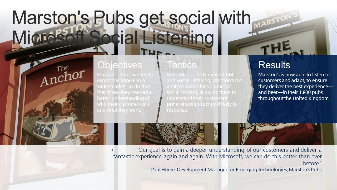Marston s Pubs get social with Microsoft Social Listening