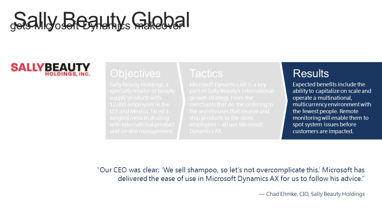 Sally Beauty Global gets Microsoft Dynamics makeover Objectives