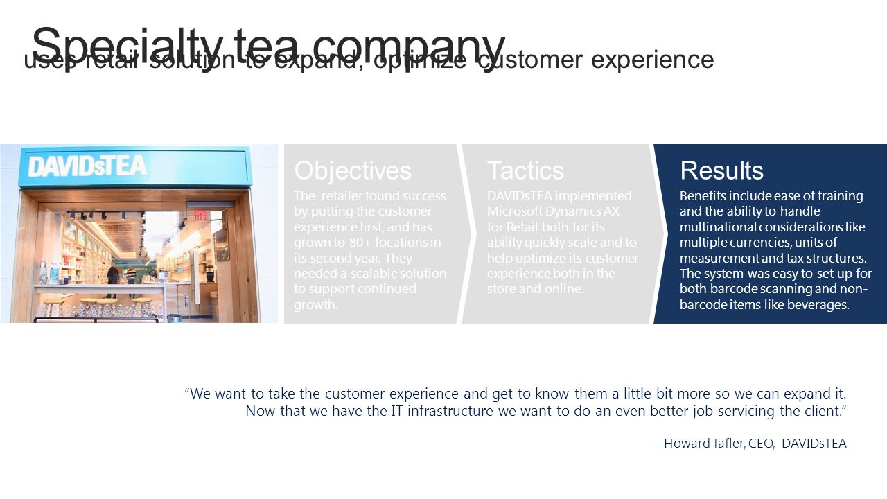 Specialty tea company uses retail solution to expand, optimize customer experience. Objectives.