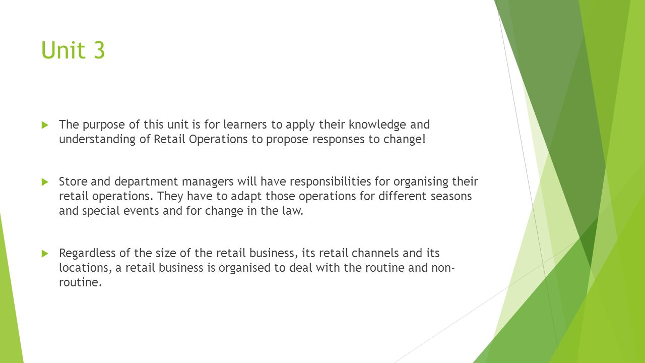 Unit 3 The purpose of this unit is for learners to apply their knowledge and understanding of Retail Operations to propose responses to change!