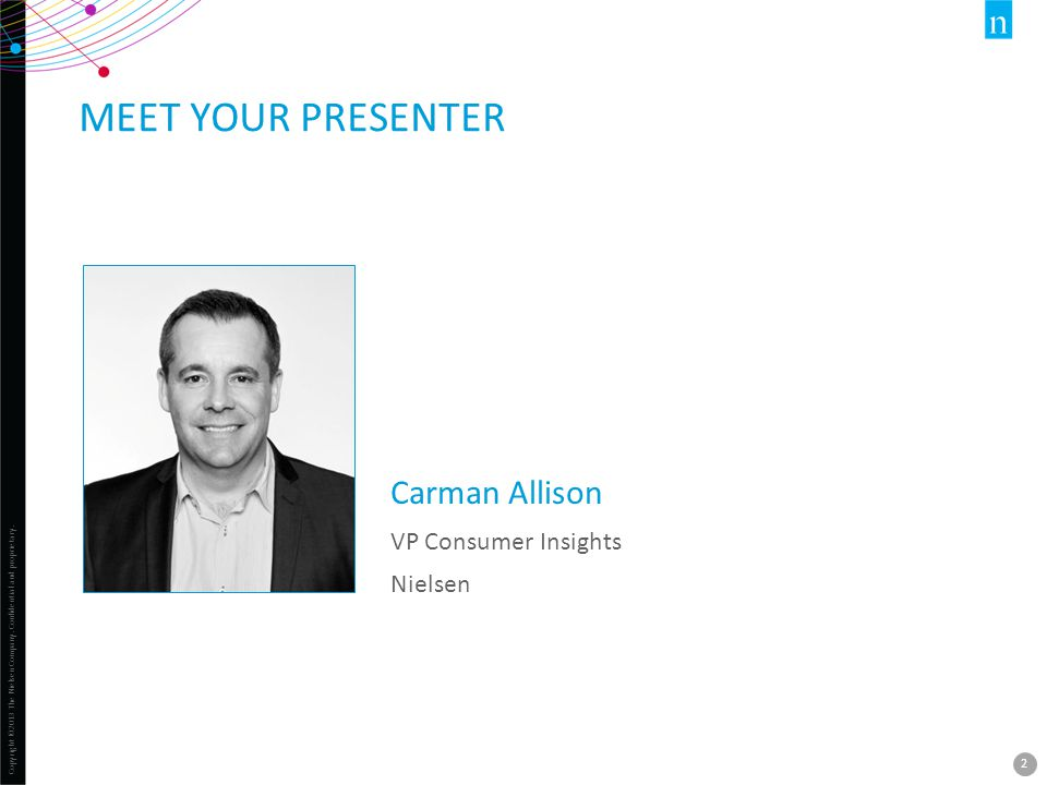 Meet your presenter Carman Allison VP Consumer Insights Nielsen