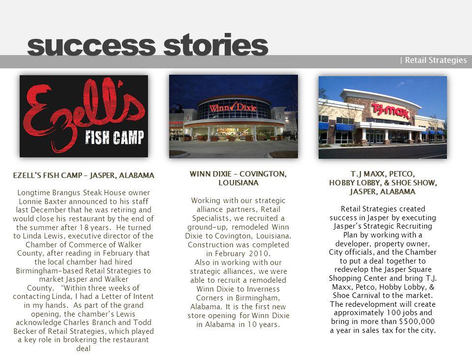 Ezell's Fish camp – Jasper, Alabama WINN DIXIE – COVINGTON, LOUISIANA