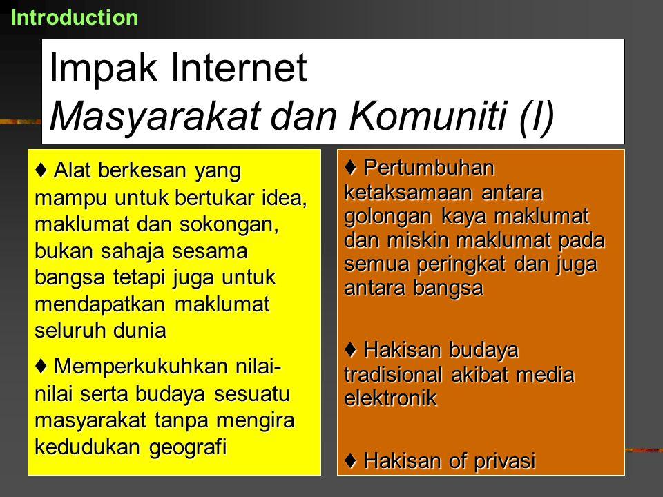 Impak Internet Masyarakat dan Komuniti (I)