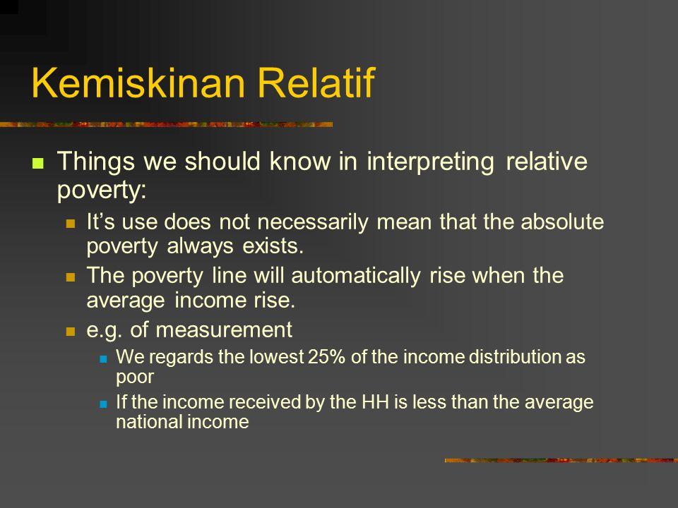 Kemiskinan Relatif Things we should know in interpreting relative poverty: