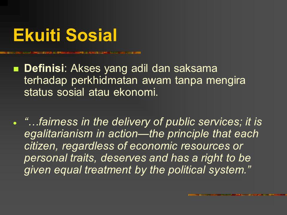Ekuiti Sosial Definisi: Akses yang adil dan saksama terhadap perkhidmatan awam tanpa mengira status sosial atau ekonomi.