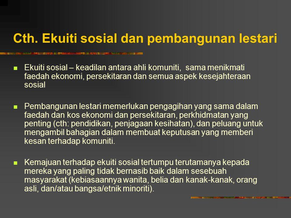 Cth. Ekuiti sosial dan pembangunan lestari