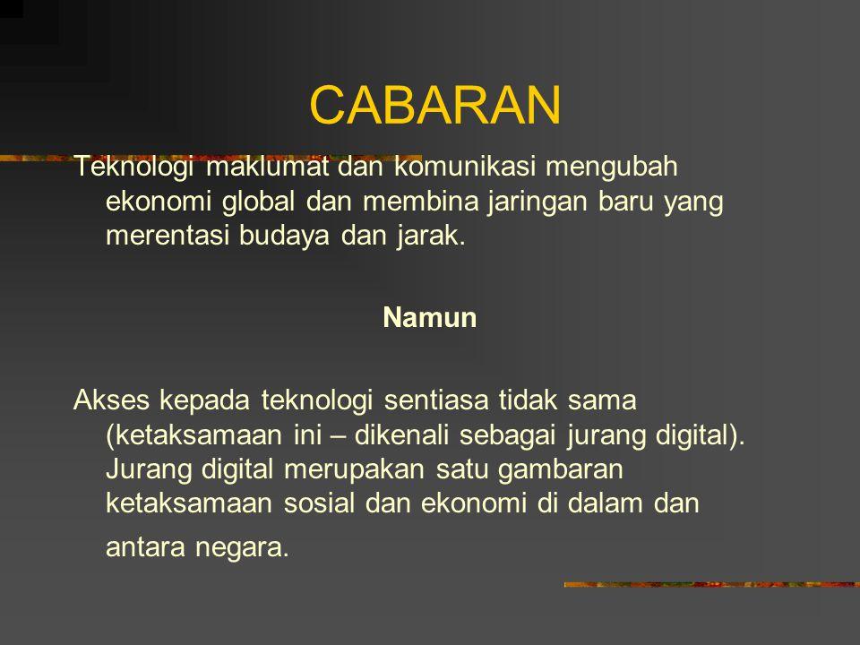 CABARAN Teknologi maklumat dan komunikasi mengubah ekonomi global dan membina jaringan baru yang merentasi budaya dan jarak.